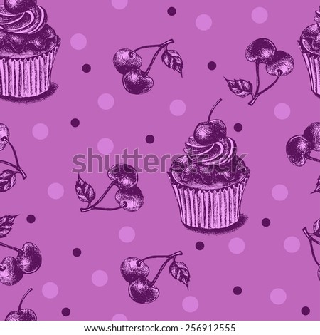 Decorative seamless pattern with hand-drawn cupcakes - stock vector