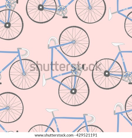 Decorative seamless pattern with racing bikes. Endless trendy ornament with hand drawn bicycles. Stylish backdrop with blue cycles on pink background. For fabric design, wallpaper, wrapping - stock vector