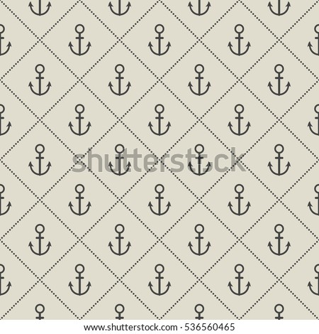 Decorative seamless pattern with Sea anchor on desert yellow background. vector illustration