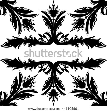 Decorative seamless vector black-and-white texture