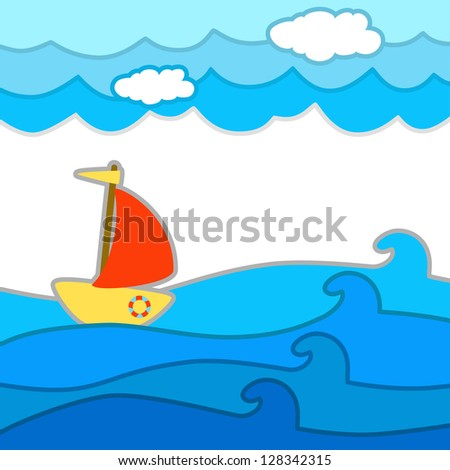 Decorative seascape with a ship - vector background - stock vector