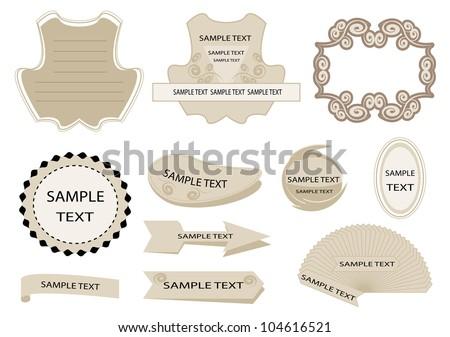 decorative set of design elements, frame, sticker, vintage - stock vector