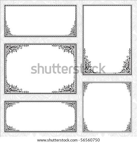 Decorative set of matching frames. Perfect forcertificates, invitations or announcements - stock vector
