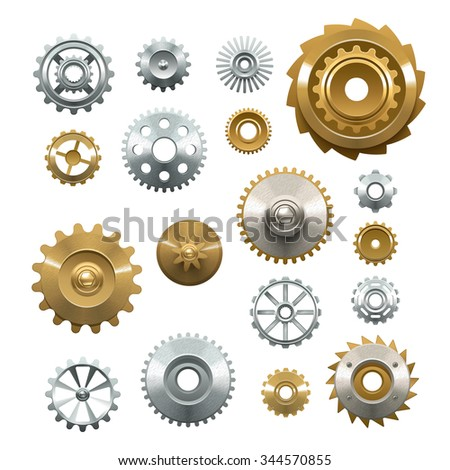 Decorative set of shiny metal  gears on white background in realistic style isolated vector illustration - stock vector
