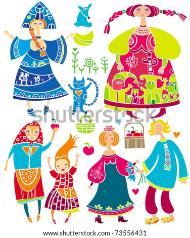 Decorative set of Slavonic cartoon characters: beautiful women, young girl in ethnic dress, boyfriend and girlfriend, basket of apples, cat. Funny characters isolated on white background - stock vector