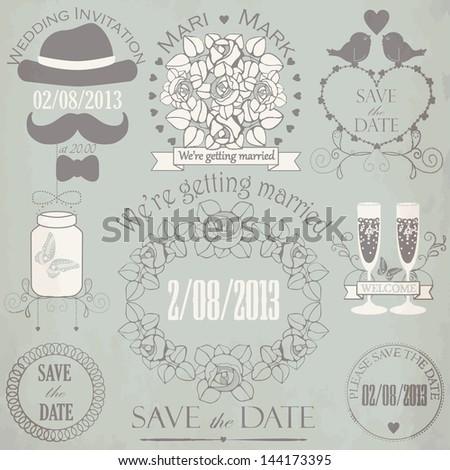 Decorative set of vintage wedding elements on aged background. Vector illustration - stock vector