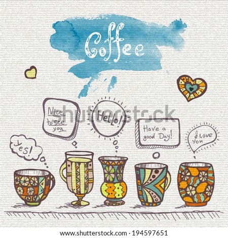 decorative sketch of cups of coffee - stock vector