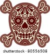 Decorative skull and bones in traditional Mexican style - stock vector