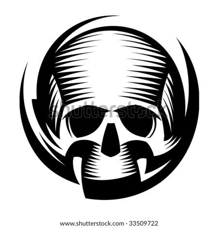 Decorative skull, gradient is absent - stock vector