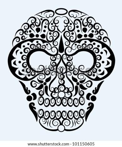 Decorative skull. head decoration and floral ornament - stock vector