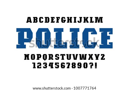 Decorative Slab Serif Font In Military Style Bold Face Letters And Numbers For Logo