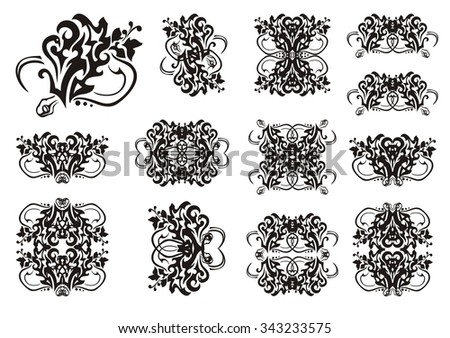 Decorative snake symbols in tribal style. Set of snake symbols and frames. The coiling snake in a grass - stock vector