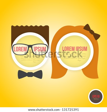 Decorative speech bubbles boy and girl faces on yellow background. Vector illustration - stock vector