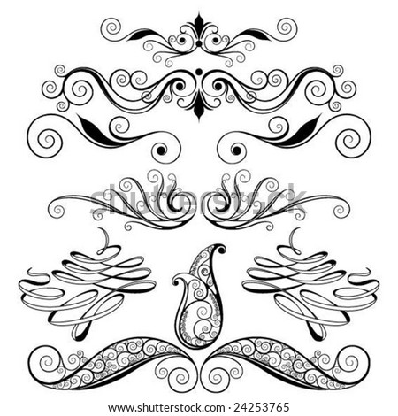 decorative spiral set - stock vector