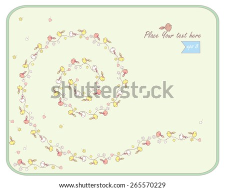 decorative spring background with birds - stock vector