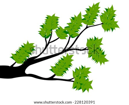 Decorative Spring Branch Tree Silhouette With Green Leaves - stock vector