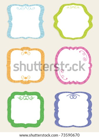 decorative square blank retro label set ready for text - stock vector