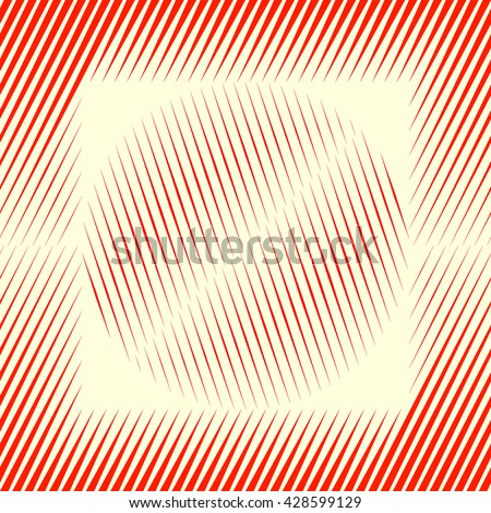 Decorative square frame with symmetric geometric ornament in the middle of a wallpaper. Red sharp lines and round spheres abstract background. 3d optical illusion effect pattern. Vector illustration - stock vector