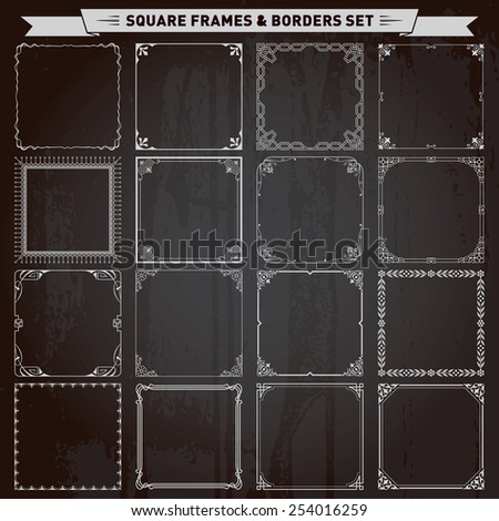 Decorative square frames and borders set vector - stock vector