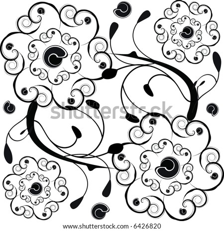Decorative square tile vector background with floral emphasis. - stock vector