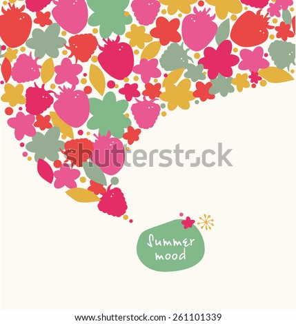 Decorative summer banner. Ornate border with hearts, flowers, leaves. Design element with many cute details - stock vector