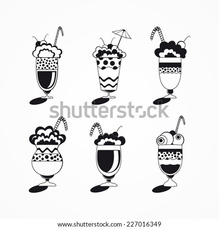 Decorative sweets food ice cream in glass desserts  - stock vector