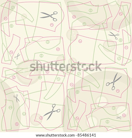 decorative tailor's pattern seamless background - stock vector
