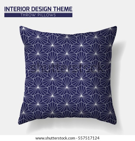 Decorative Throw Pillow Design Template Geometric Pattern In Traditional Japanese Style Is Complete Masked