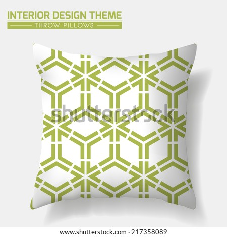 Decorative Throw Pillow vector design template. Geometrical seamless pattern in green is complete, masked. Modern interior design element. Sofa Toss Pillow. Editable eps10 contains the pattern swatch  - stock vector