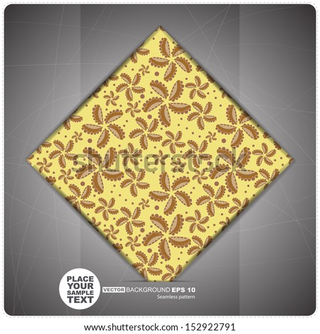Decorative Tile with flowers and leafs. vector