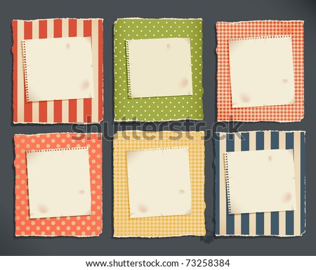 decorative torn paper & notebook page for text - stock vector