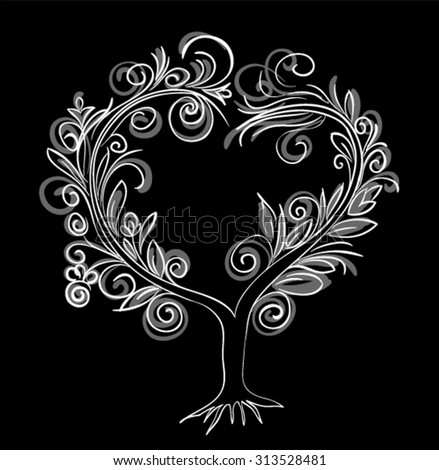 Decorative tree with black and white  background./ Ornamental tree Heart shaped.