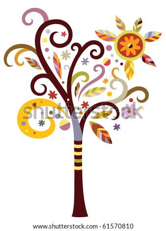 Decorative tree with swirls and leaves in a modern color palette. - stock vector