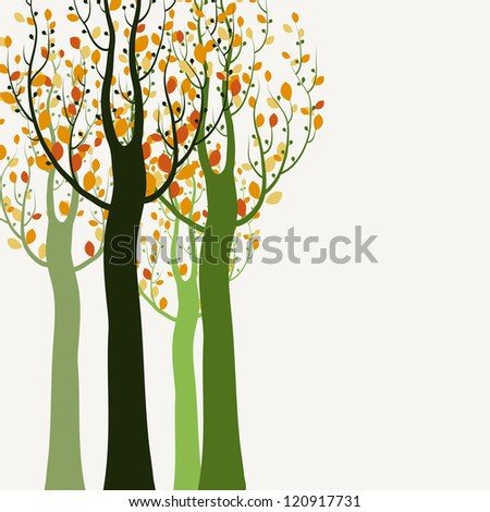 Decorative trees background - stock vector