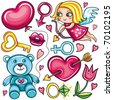 Decorative valentine elements:cute cupid shooting arrow, key, teddy bear, heart with arrow through, female and male gender sign, diamond ring, tulip flower, hot kiss, heart shaped balloon. - stock