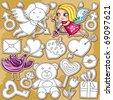 Decorative valentine elements:cute cupids shooting arrows,  chocolate dipped strawberry, heartshaped  lollipop, loveletter , key,  teddybear, diamond, ring, present, heart with arrow through, - stock vector
