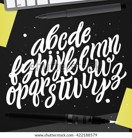 Decorative Vector ABC Kit. Nice Typography for Your Design. Hand Drawn Lettering and Calligraphy for: Logo, Poster, Card, etc. Creative Workspace, set of Objects for Designers.   - stock vector