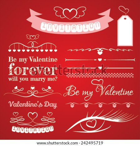 Decorative vector elements Valentine's Day  - stock vector