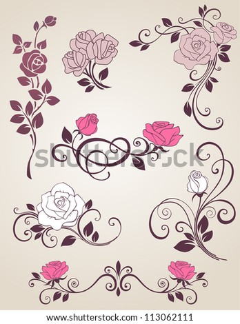 Decorative vector elements with roses for design - stock vector