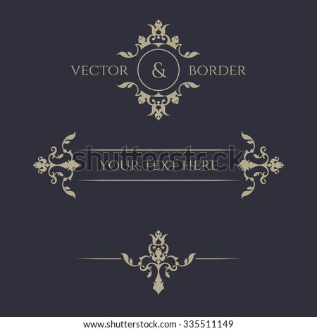 Decorative vector frame, monogram, border. Template signage, labels, stickers, cards. Graphic design page. Floral borders. Classic design elements for wedding invitations. - stock vector