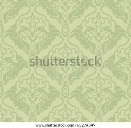 Decorative vector green seamless floral ornament - stock vector