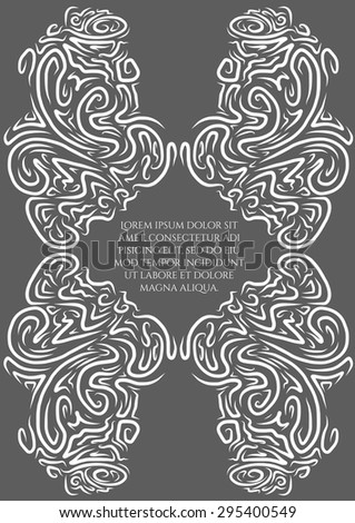Decorative vector hand drawn card in vintage style. Creative elegant framing of abstract waves. Template with neutral grey backdrop. Can be used for invitations, greetings, fabric prints, wrapping - stock vector