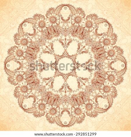 Decorative vector mandala in Indian mehndi style - stock vector