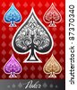 Decorative vector poker Spade icon - stock photo