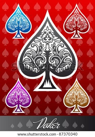 Decorative vector poker Spade icon - stock vector
