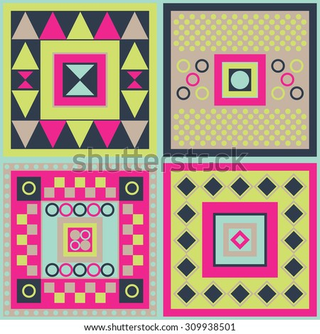 Decorative vector poster colorful geometric shapes