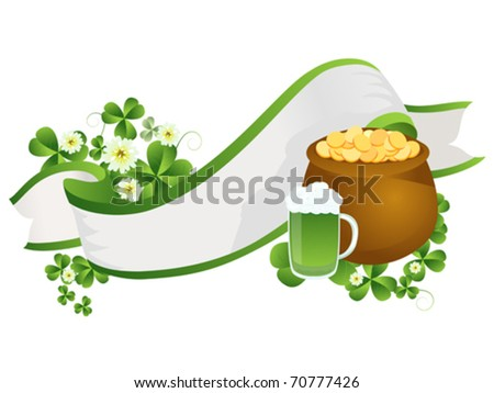 Decorative vector ribbon with beer pint, pot of gold and clover leaves
