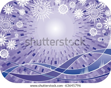 Decorative vector winter purple frame with christmas snowflakes and waves