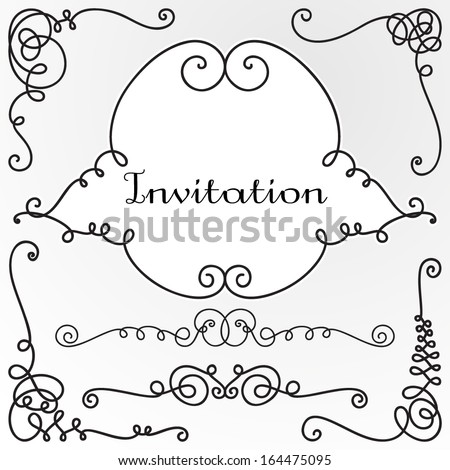 Decorative vignettes, frames, corners. Vintage borders, scrolls. Vector set  - stock vector