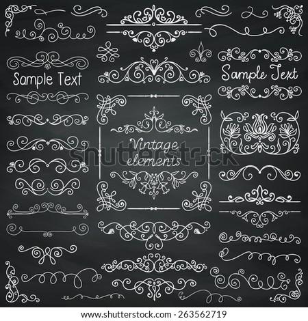 Decorative Vintage Chalk Drawing Doodle Design Elements. Frames, Dividers, Swirls. Vector Illustration - stock vector